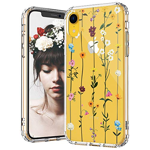 Design Hard Phone Case - MOSNOVO iPhone XR Case, Clear iPhone XR Case, Wildflower Floral Flower Pattern Clear Design Transparent Plastic Hard Back Case with Soft TPU Bumper Protective Case Cover for Apple iPhone XR