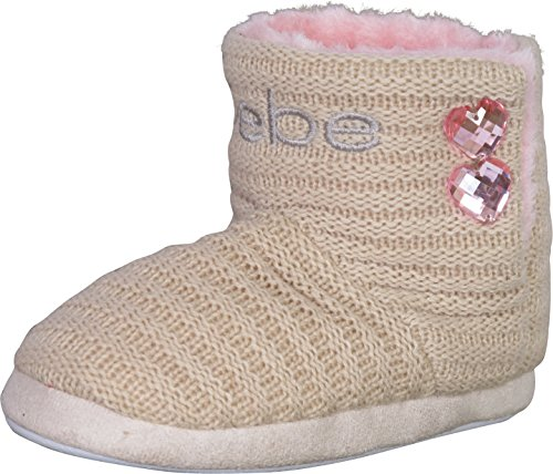 bebe Girl's Knit and Faux Fur Slipper Boots with Rhinestones Detail, Tan/Light Pink, 11-12 M US Little Kid' (Slipper Booties For Girls)