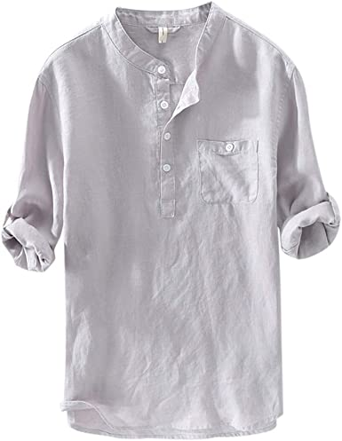 BYWX Men Solid Color Stand Collar Lightweight Casual Cotton Linen 3//4 Sleeve Shirt