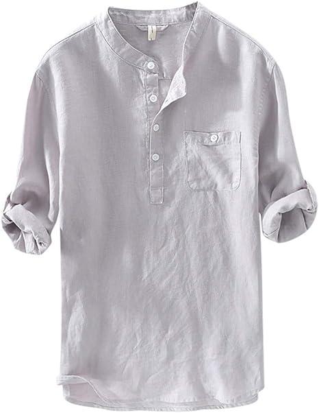 Algodón y Lino Manga Larga Camisa – Hombre Casual Camisa Stretch Transpirable Camisas Slim Fit Botones Camiseta Azul/Gris/Blanco/Verde Gris L: Amazon.es: Ropa y accesorios