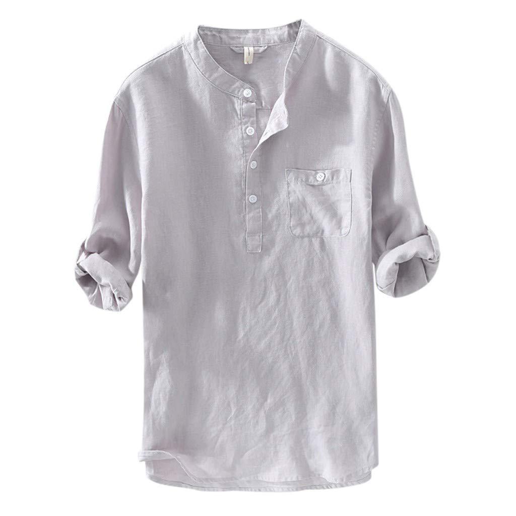 Yliquor Mens Causal Shirt Long Sleeve Top Button Cotton Linen Solid Color Loose Blouse