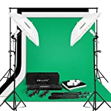 CRAPHY Photo Studio Umbrella Lighting Kit 1250W 5500K Photography Daylight Umbrella with Muslin Backdrop Kits(9x6FT White Black Green),Background Stand Kit(10x6.5FT)
