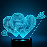 3D illusion Heart Love Arrow Gift LED Night Light, YKL World 7 Color Touch Bedroom Table Desk Lamp Light Valentine's Day Decor Gift