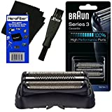 Braun Series 3 Directions - Braun 32B Replacement Foil Head Cassette, Black for Series 3 (new generation) + Double Ended Shaver Brush + HeroFiber Ultra Gentle Cleaning Cloth