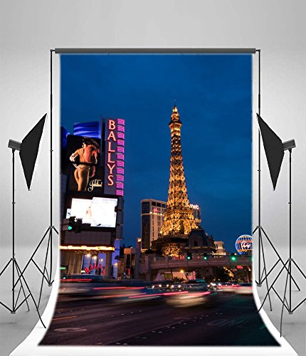Laeacco 6x8ft Vinyl Photography Background LAS VEGAS Traffic Along Las Vegas Strip Luxury Hotel Rooms Tower City Night View Backdrop Christmas Personal Portraits Children Shooting Video Studio Prop