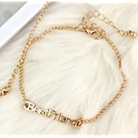 Fashion Women Best Friend Gold Plated Charm Chain Bangle Bracelet Jewelry Gift EW