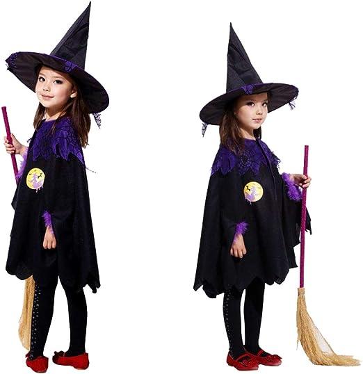 XXLLQ Disfraz Bruja de Halloween para Niñas Cosplay Niña Halloween ...
