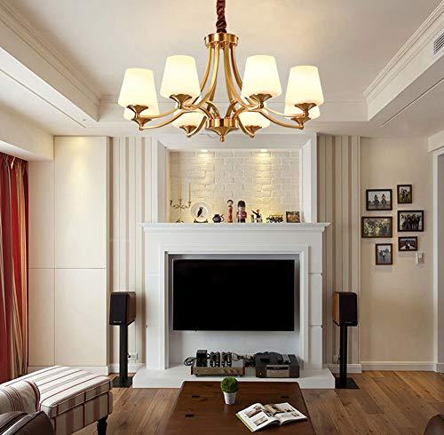 FEE-ZC Glass Pendant Lamp Shade, Ceiling Light Fixture Bedroom Chandeliers Modern Contemporary Brass Black Living Room Dining Room E27 Socket 110V-220V, 8