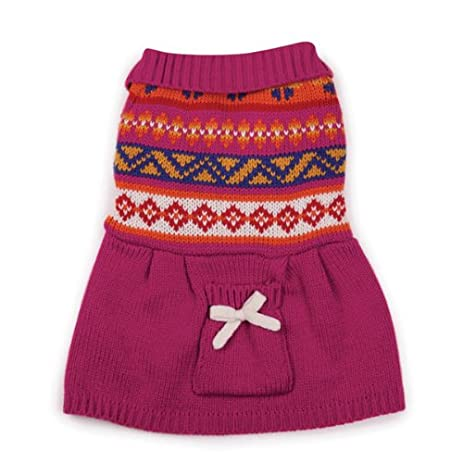 Amazon.com : Zack & Zoey Acrylic Fair Isle Dog Sweater Dress ...