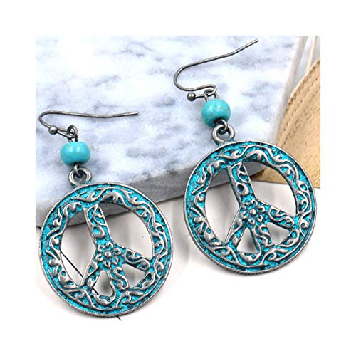 MIXIA Antique Vintage Bronze Round Peace Love Sign Symbol Hook Earring Carving Filigree Flower Drop Earring Women Jewelry (Retro Blue)