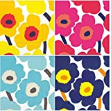 Marimekko Unikko Cocktail Napkins red Yellow Blue Turquoise Floral Assorted Variety Pack 40 Total Napkins