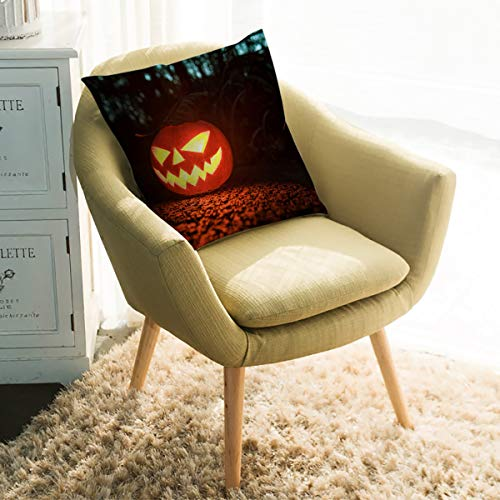 Rocking Giraffe Decorative Pillow Case Halloween Pumpkin Square Cushion Cover Super Soft Satin Fabric Pillowcase for Home Couch Sofa Bed 16 x 16 Inch 40 x 40 cm
