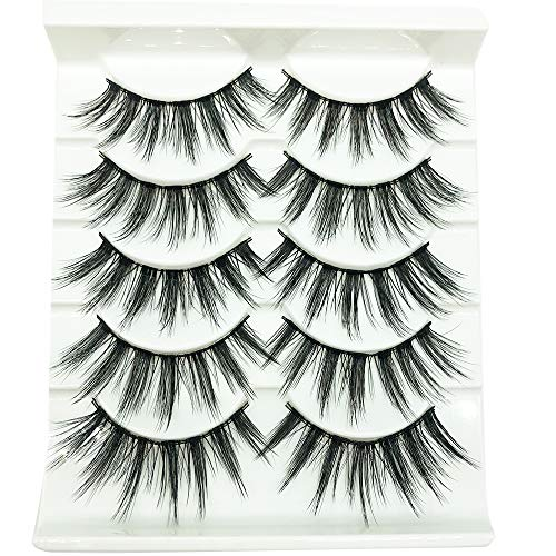 5 Pairs/Box 3D Real Mink False Eyelashes 100% Siberian Mink Fur Luxurious Wispy Natural Cross Thick Long Fake Eye Lashes