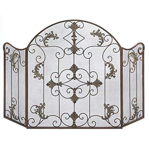 AK Energy Wrought Iron Fireplace Screen 3 Panel Folding Cover Weathered Rust Copper Brown Finish Color