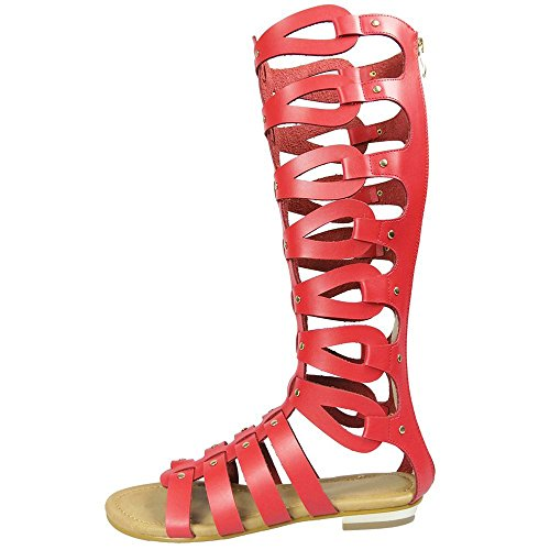 Size 5 Cut 42 Sandals Flat Tag Boots Knee UK Red Womens 8 Gladiator Out zqadqwO