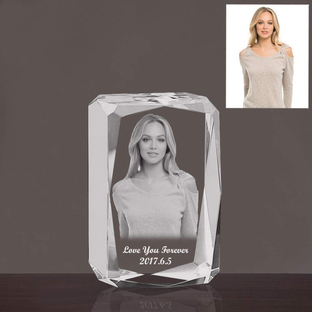Qianruna Custom Personalized 2D/3D Laser Etched Photo in Crystal Glass Cube Photo Engraving Gifts for Birthday, Anniversary, Mother's Day,Father's Day,Valentine's Day,Christmas Day