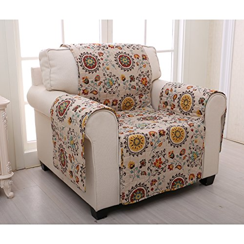 MN 1 Piece White Red Floral Theme Chair Protector, Geometric Flower Pattern Couch Protection Flowers Roses Leaves Furniture Protection Cover Pets Animals Covers Nature Reversible, Polyester by MN