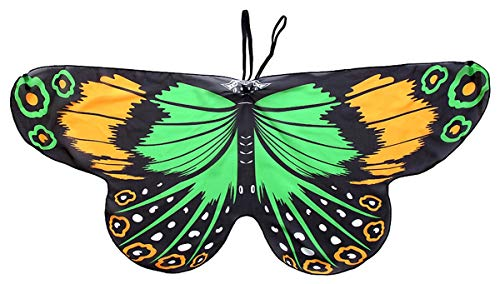 Halloween Dress-ups Fanciful Fabric Wings Monarch Butterfly Yellow&Green ()