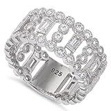 Sterling Silver Fancy Wide Eternity Cz Ring (Size 4 - 11)