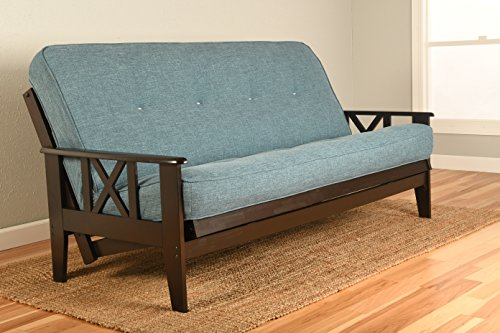 Kodiak Montreal X Espresso Futon Frame w/Quality 8 Inch Innerspring Mattress Sofa Bed Set Full Size (Cappuccino Leather Linen Matt, Frame and Drawer Set)