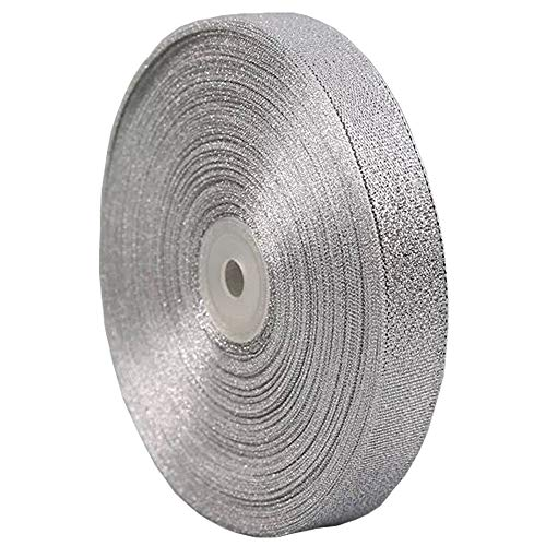 PartyMart Silver Ribbon for Gift, 25 Yards, 3/8 inch