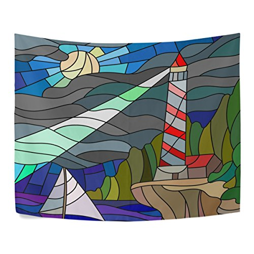 Stained Glass Sailboat (Stained Glass Lighthouse and Sailboat of The Night Sky and The Sea Polyester Dorms Decor Tapestry Horizontal Large 51x60 Inch Home Decorate)