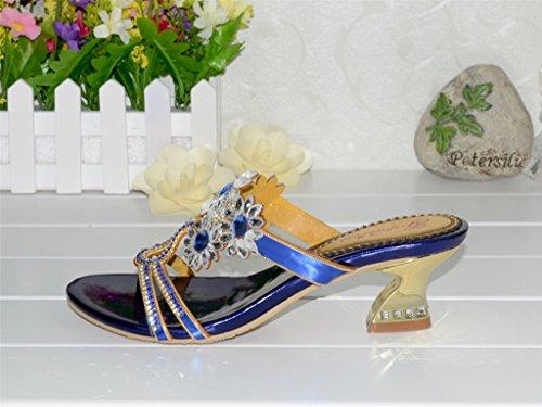 Crc Vrouwen Unieke Bloemen Schitteren Rhinestone Microfiber Prom Huwelijkspartij Sandalen Pantoffels Blauw
