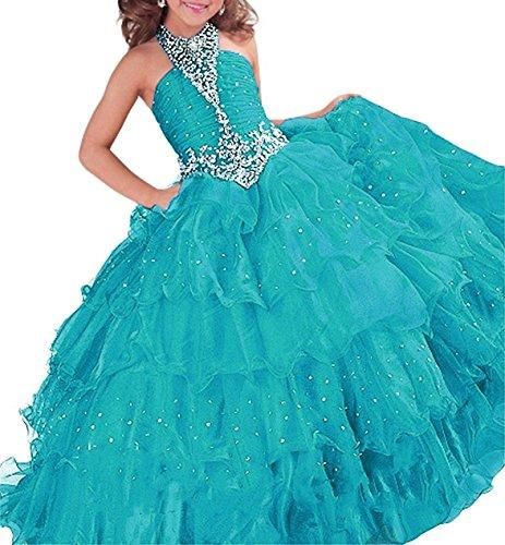 Lisa Halter Flower Girl Dresses Crystal Floor Length Pageant Dress Gowns LS146