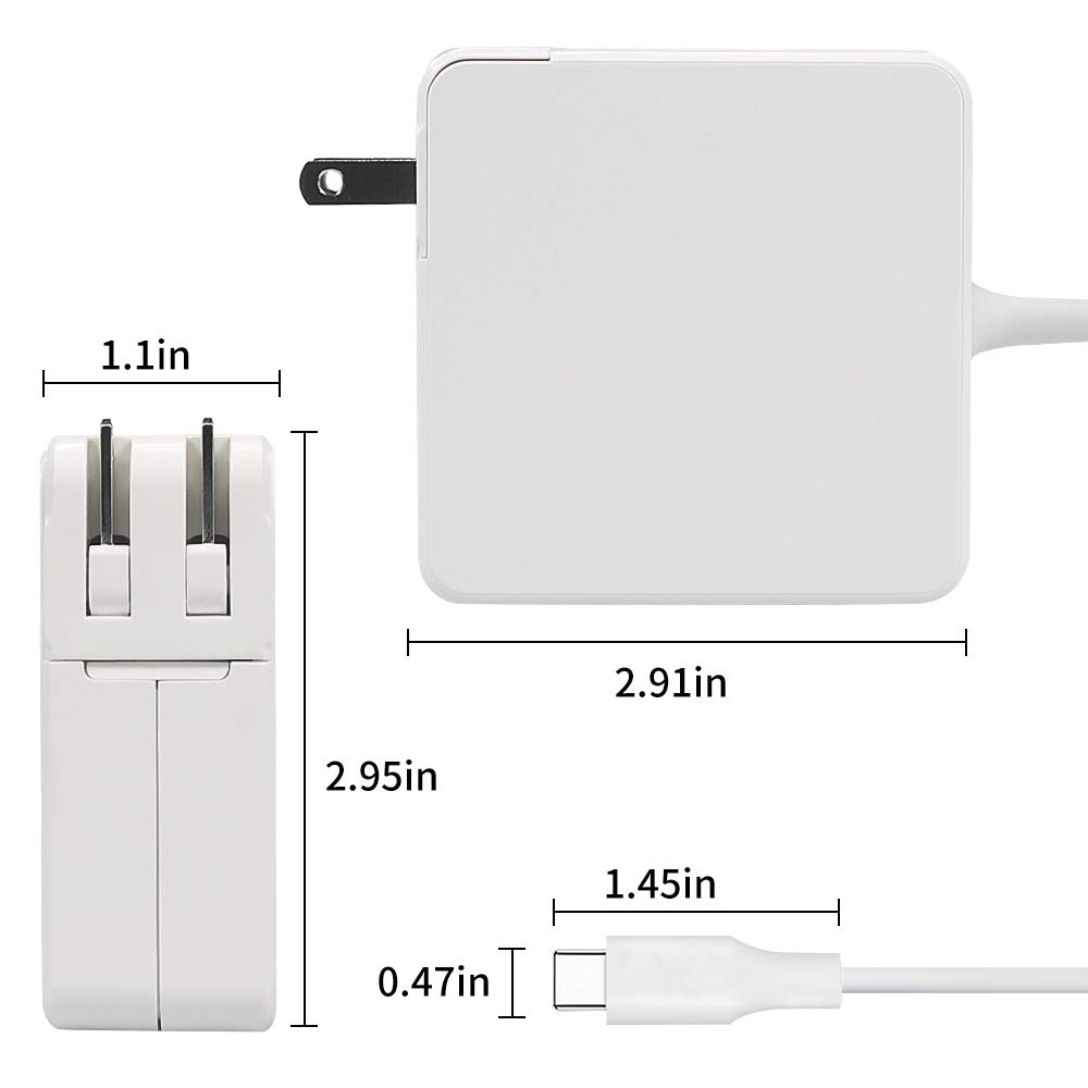 HUSAN 61W USB-C Power Adapter Compatible for MacBook Pro 13 Inch with USB-C Cable Power Supply Cord (61W-5) by HUSAN (Image #1)