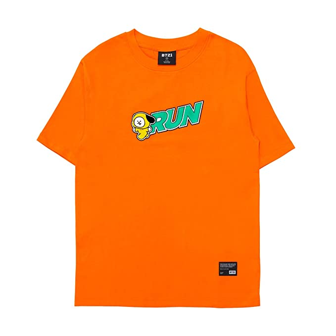 Bt21 Official Merchandise By Line Friends   Chimmy Character Unisex Lettering Artwork Graphic T Shirt, Large, Orange by Bt21
