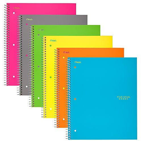 Notebook Subject (Five Star Spiral Notebooks, 1 Subject, College Ruled Paper, 100 Sheets, 11