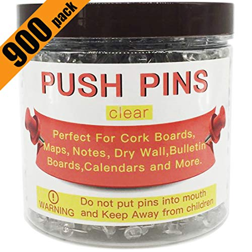 Push Pins 900 Count, Standard Clear Thumb Tacks Steel Point for Cork and Poster Board