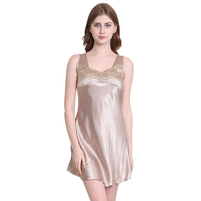 c305d86a2ed99 Ufatansy Women Sleepwear Sexy Sleeveless Lingerie V-Neck Soft Nightgown  Short Skirt Silk Lace Pajama