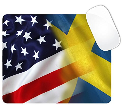 Price comparison product image Mixed USA and Sweden Flag Square Mouse Pad