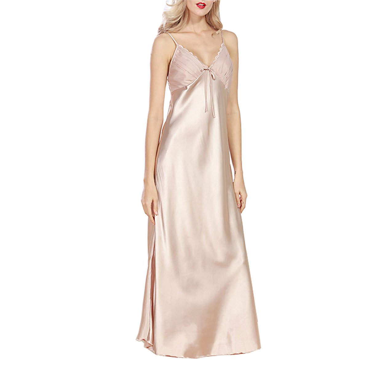 Globalwells Women's Satin Silk Slip Long Nightgown Pajamas Sleepwear Dress SWEI CANWD05