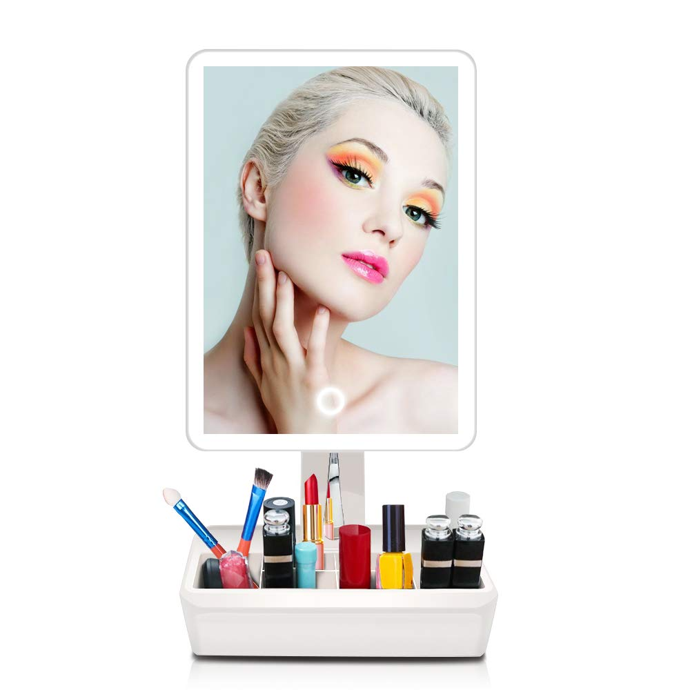 38 LEDs Makeup Vanity Mirror Natural White Bright Light with Touch Control Portable Cosmetic Mirror with Organizer