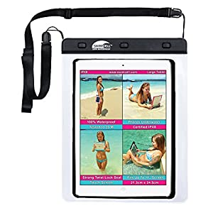 "#1 Waterproof iPad Case For Large iPad. Kindle, Camera and Other Dry Valuables. 8.5"" x 9.5"". Up to 11"" Screen. Pouch. Tested to 20m. Easy to Use. 2 Tablet and phone sizes available."