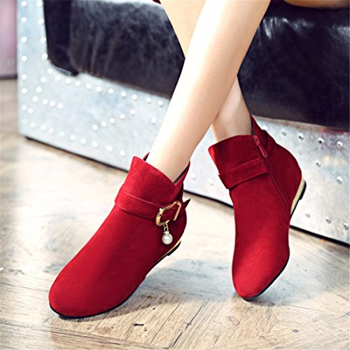 buckle shoes Terry heel Red Big size short low suede women's boots awYx7qxEp