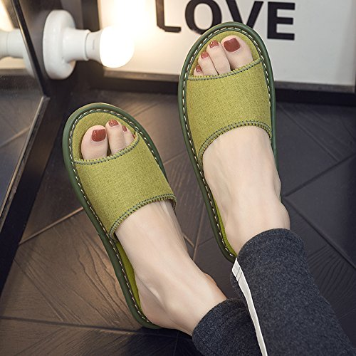 fankou Home Interior Floor Thick Linen Cool Slippers Home with Anti-Slip Away Sweat in The Summer of Men and Ladies Slippers,35-36, Dark Green