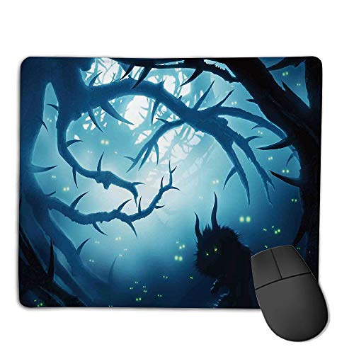 (Computer Mouse Cushion and Natural Rubber Back and Cloth Surface,Mystic House Decor,Animal with Burning Eyes in Dark Forest at Night Horror Halloween Illustration,Navy White,Applies to Games,Home,)