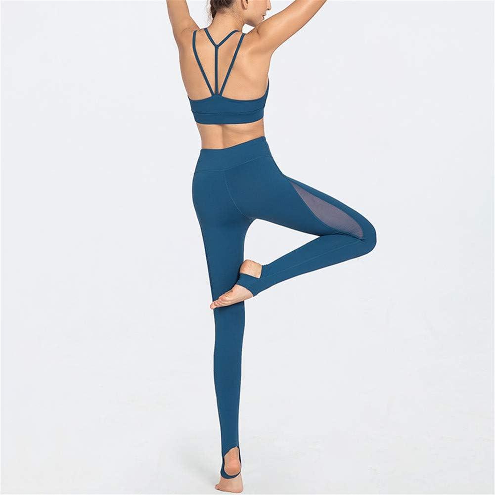 WANDE Yoga De La Mujer De Fitness De Deporte Conjunto Espalda Abierta Fitness Gym Yoga Ejecución De Cierre Bien Tri-Color Opcional, S-XL,Azul,S