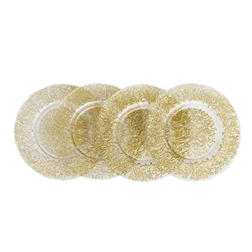 Gold Baroque Glass Charger Plate 4/pack