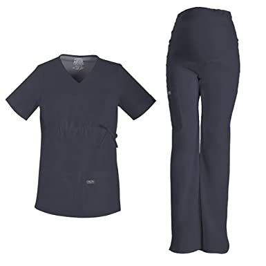 3664423d0bc Cherokee Workwear Maternity V-Neck Top 4708 & Core Stretch Maternity Pull  On Pant 4208