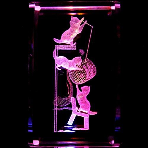 Laser Lighthouse Crystal (Kittens Playing 3D Laser Etched Crystal + Display Light Base)