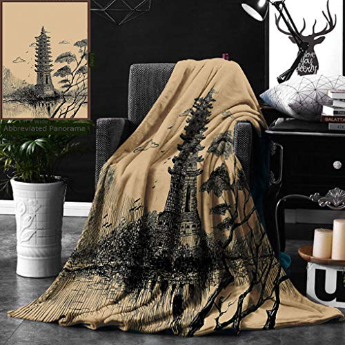 Unique Custom Double Sides Print Flannel Blankets Asian Decor Old Stone Tiered Tower Vintage Style Taoist House Of Faith Historical Illu Super Soft Blanketry for Bed Couch, Twin Size 60 x 70 Inches by Ralahome