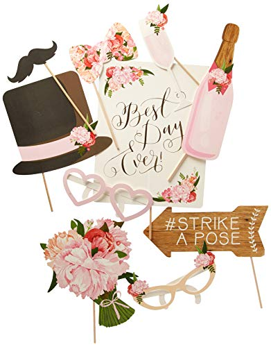 Ginger Ray BH-721 Vintage Style Wedding Photo Booth Props-10 Pack
