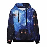 Samtree Digital Print Sweatshirts for Women Funny Galaxy Hoodie Pullover Sweater  Blue Galaxy  Asia L XL fit US S M