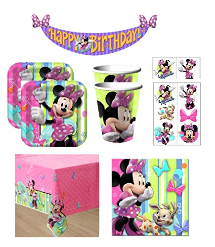 (Minnie Mouse Birthday Party Supply Bundle Includes Plates Cups Napkins Table Cover Banner Tattoo Favors for Party of 16)