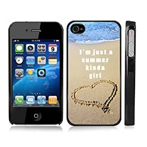 Summer Girl Ocean Beach Sand Snap-On Case Hard Carrying Cover for iPhone 4/4S (Black)