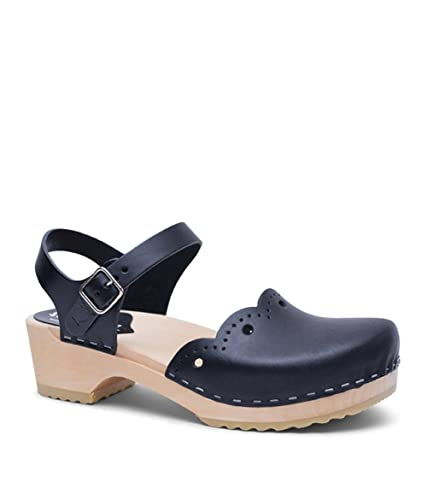 45f4436cd1e Sandgrens Swedish Wooden Low Heel Clog Sandals for Women | Milan Black Veg,  EU 35